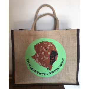 jute bag with wheaten terrier motif