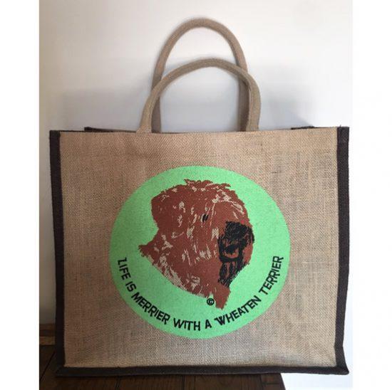 jute bag with wheaten terrier motif
